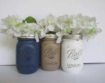 Painted and Distressed Ball Mason Jars- Navy Blue, Beige Light Brown and White Flower Vases, Rustic Wedding, Centerpieces