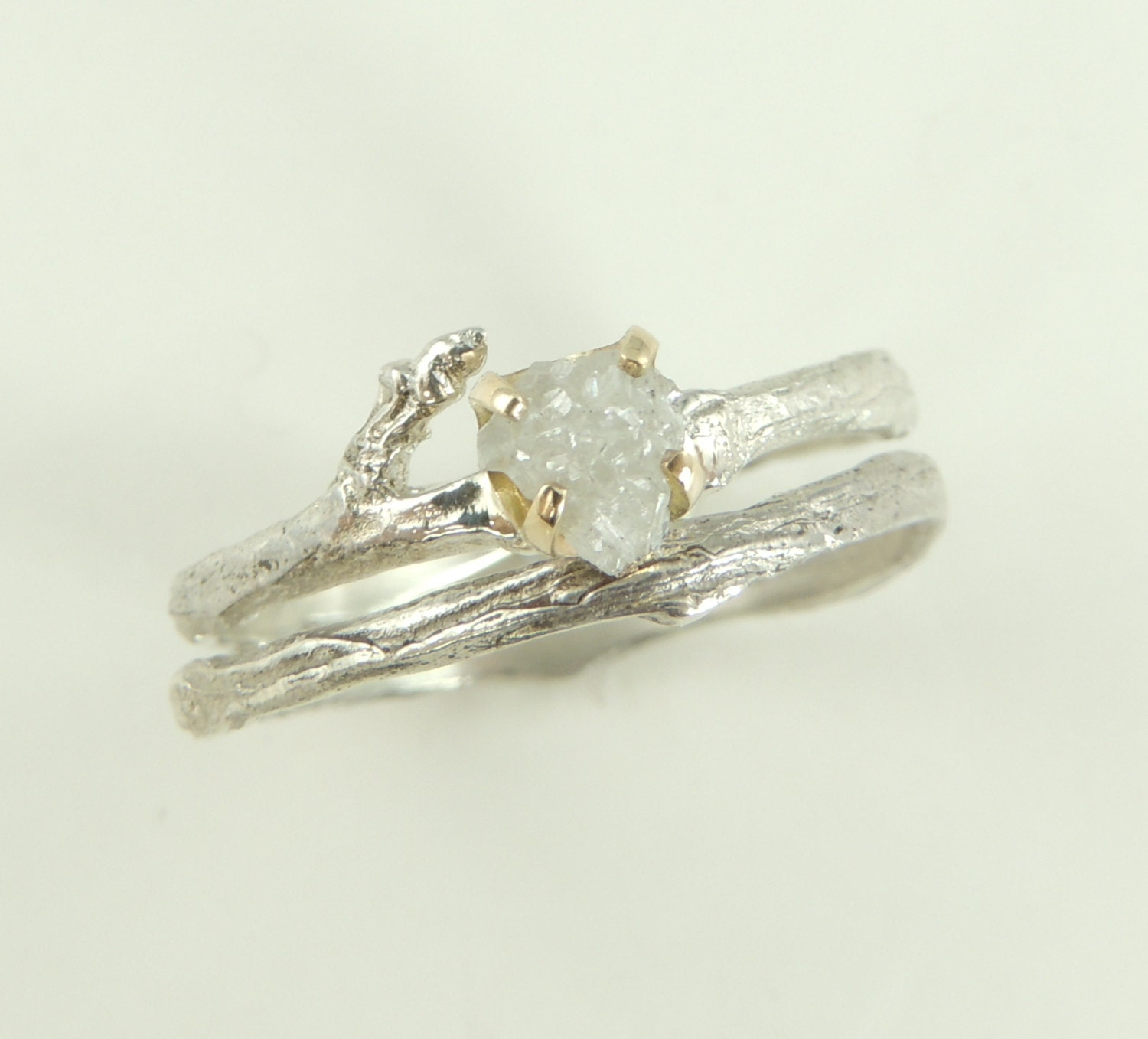 Rough diamond branch engagement ring 14k gold and sterling for The sterling