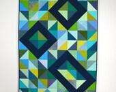 Geometric Blue Quilt, Modern Quilt, Geometric, Triangles, Green Modern Quilt, Indigo, Green