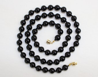 Black Onyx Necklace 10mm Black Onyx Beads 30 Inches long. Hand Knotted 10 mm Black Onyx Lariat. Black Beads MapenziGems