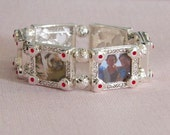 Stretch Photo Bracelet..6 Frames..Antique Silver with Swarovski..Display Your Family, Pets & Memories..Excellent Shower or Anniversary Gift