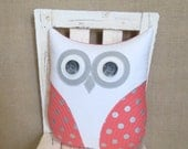 coral owl pillow, coral and metallic silver, coral nursery, coral accent pillow, gift under 40 by whimsysweetwhimsy