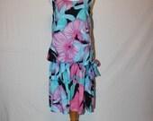 Vintage 80s Tropical Dress - Sleeveless Dress - Drop Waist - Floral Dress