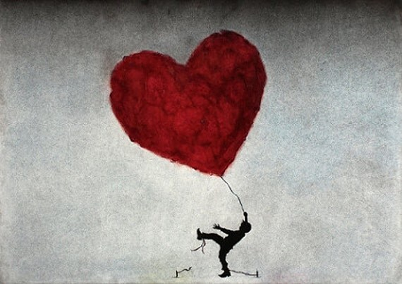 Art Print.  Boy Red Heart Balloon. Let Your Heart Show You The Way