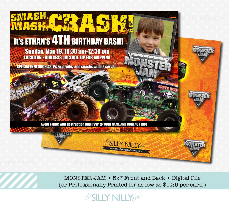 Monster Truck Jam 5x7 Birthday invitations Monster Mutt