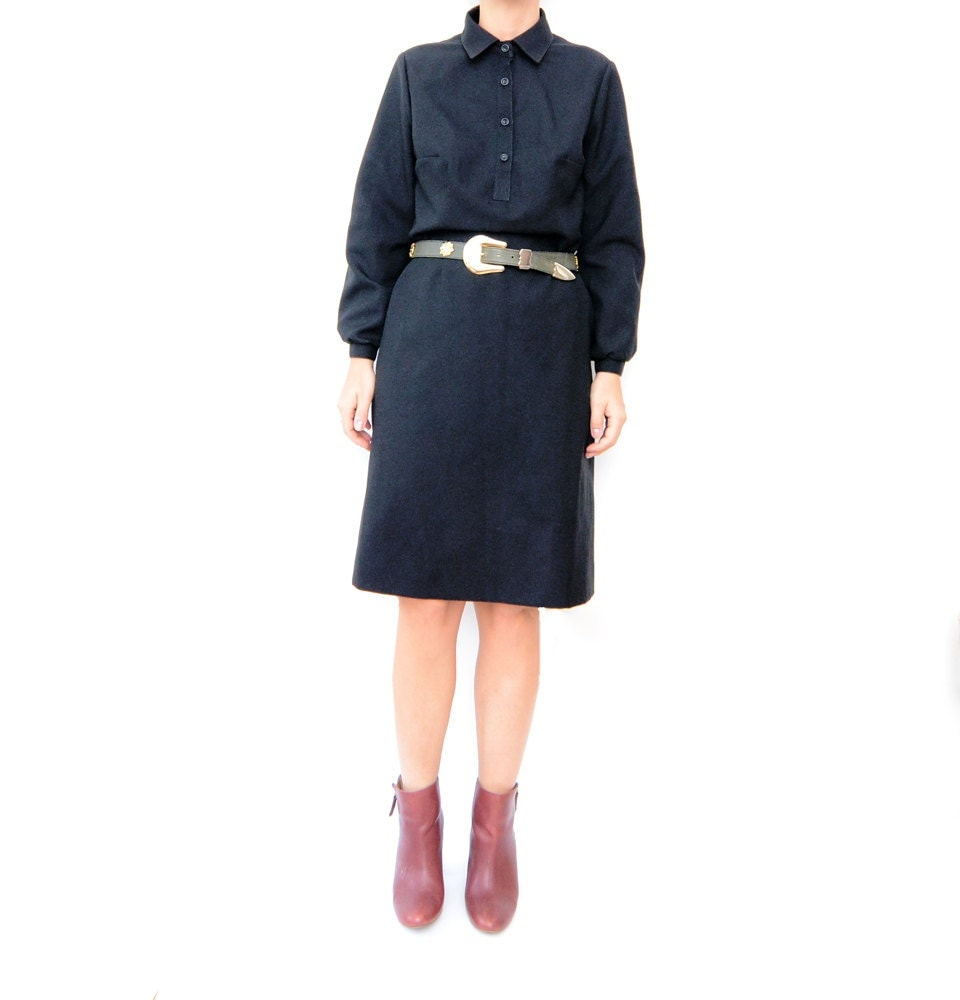 Vintage black baby doll 60s long sleeve dress by