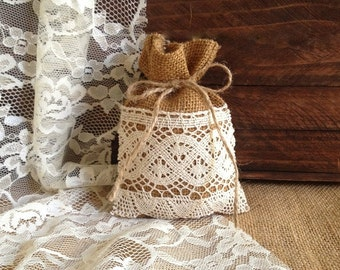 10 rustic lace covered burlap favor bags, wedding, bridal shower, baby shower or tea party gift bags