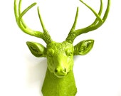 CHARTREUSE Faux Taxidermy Deer Head wall mount wall hanging in all chartreuse, (yellow-green):  Deerman the Deerhead modern home decor