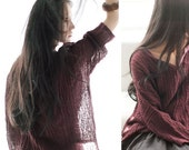 Fairy Shirt Tunic in purple / Loose Blouse/ linen shirt / long-sleeved linen tunic / spring A8033