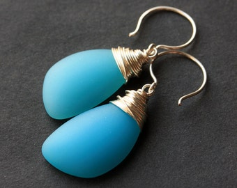Ocean Blue Seaglass Earrings. Ocean Blue Earrings. Ocean Blue Sea Glass Earrings. Wire Wrapped Wing Earrings. Handmade Jewelry.