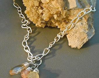 Necklace Silver Link Chain  Faceted Apricot Quartz Briolette  Strawberry Quartz teardrop & Lemon Yellow onion briolette of Prehnite