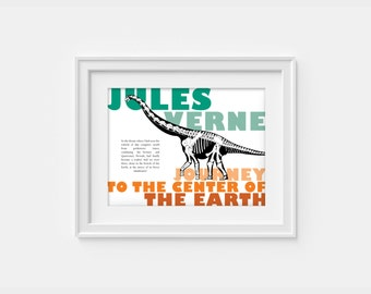 Jules Verne - dinosaur poster inspired by Jurney to the center of the earth - print (12,60 x 18,10)