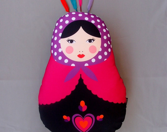 Stuffed Matryoshka with pink heart, Funny Gift, Fluffy Babushka, Cheerful Russian doll, Gift for Kids, Stuffed Martioshka, Colorful decor