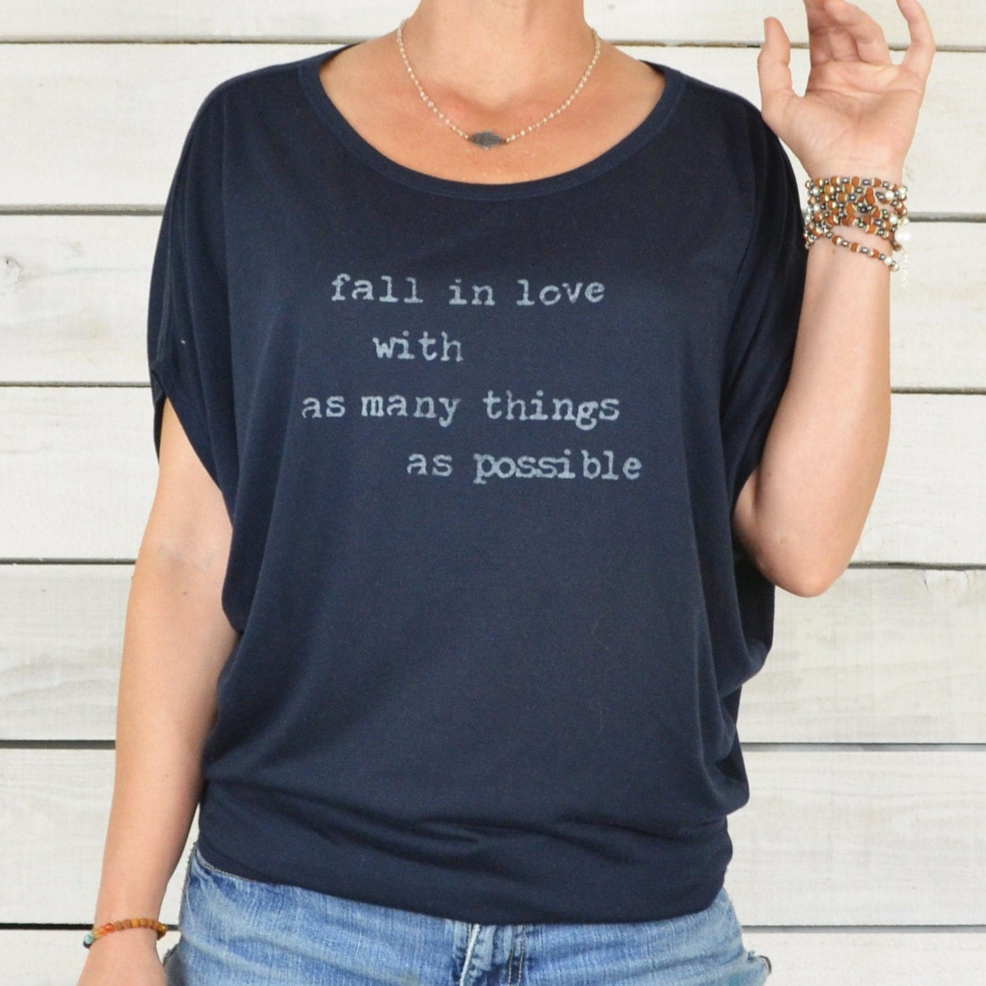 Fall In Love With As Many Things As Possible Navy Flowy