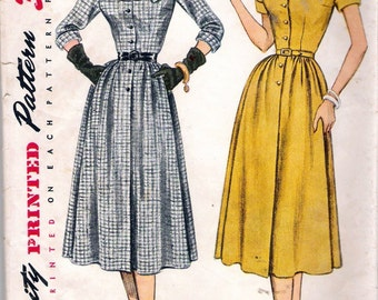 Vintage 1951 Simplicity 3670 One Piece Round Yoke Dress Sewing Pattern Size 16 Bust 34""