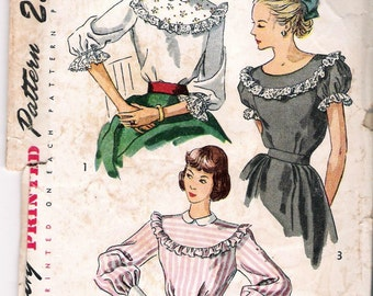 """Vintage 1948 Simplicity 2483 3 Styles Blouse Sewing Pattern Size 16 Bust 34"""""""