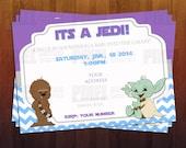 Jedi Star Wars Themed Baby Shower Invite- Ready to Print Digital