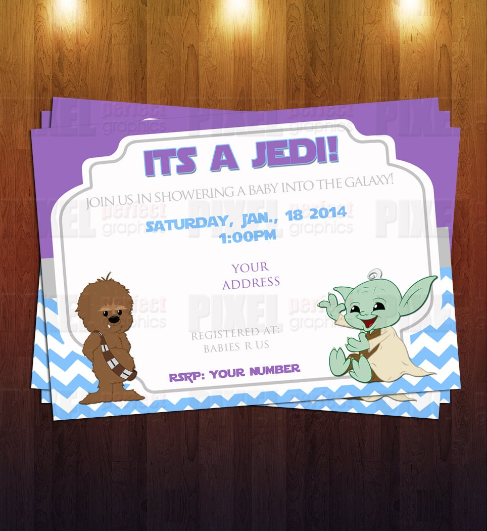 jedi star wars themed baby shower invite by pixelperfectgraphics