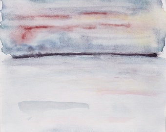"""SALE !!! Muted in Reflection. Fine art watercolor abstract painting. Minimal landscape, original, 9"""" x 9.5"""""""