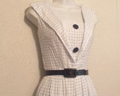 1950s Day Dress ~ Small Sailor Collar ~ White with Blue Dots