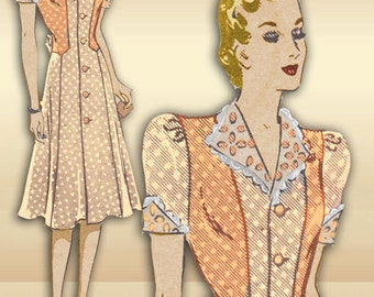 Vintage Mail Order Dress Pattern Anne Adams 4462 Vintage 1940s WWII One Day Piece Day Dress with Uniquely Styled Bodice Bust 34