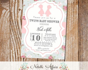 Twin Girls Shabby Chic Vintage Cottage Rustic Baby Shower Invitation - Choose your wording - no color changes