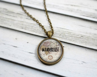 Wanderlust Necklace, Map Necklace, Gypsy Jewelry, Inspirational Necklace, Traveler Jewelry, World Map Pendant, Travel Necklace