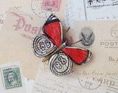 Handmade Butterfly Magnet - Red, Black and White - Super Strong Magnet!