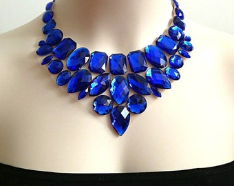 royal blue bib rhinestone necklace, wedding, bridesmaids, prom necklace, gift or for you NEW