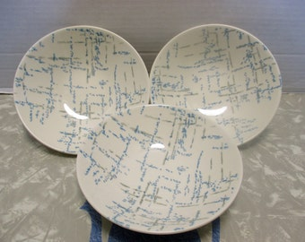 Homer Laughlin Company Vogue Shape HLC431 Pattern with Gray and Blue Dotted Lines -  Set of 3 Cereal Bowls