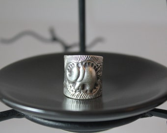 Peaceful Elephant Sterling Silver Ring