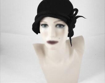 Flapper Hat Felted Hat Cloche hat  Jazz Hat Black Art Hat felt nunofelt nuno felt silk eco fiber art art deco