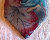 Vintage Men's Necktie, Harvé Benard Tie - Classic Pure Silk Floral Mens Traditional Tie - Shades of Aqua and Rose - Designer Chic