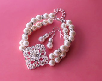 50% OFF SALE Bridal Bracelet, Bridesmaids gift - Pearl Jewelry sets with Bracelet and Earrings (15 COLORS Available)