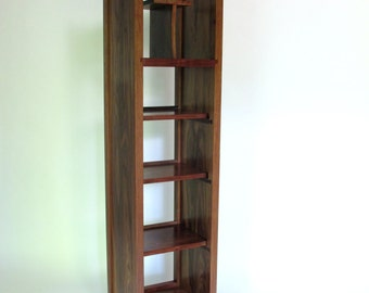 Open Bookcase: Tall Storage Cabinet, Narrow Bookcase, Modern Media Tower- Handmade Wood Furniture