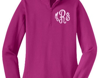 Monogrammed Sweatshirt - Quarter Zip 1/4 Pullover by Mad About Monograms - NEW COLORS  Pink Grey Black Navy Red Royal Blue