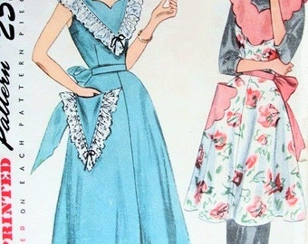 1950s Simplicity 3422 Vintage APRON PINAFORE Sewing Pattern Cute Button Back Pinafore Dress or  Apron Bust 30