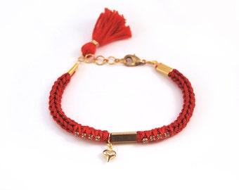 Red bracelet with heart charm, tassel bracelet, knit bracelet, heart bracelet with tube