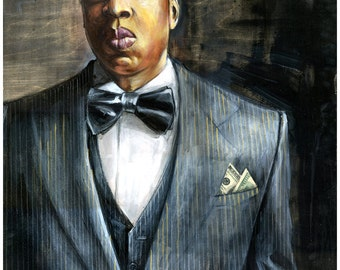 "Jay-Z Art Print - Jay-Z Poster - Wall Art - ""Jay-Z"" by Black Ink Art"