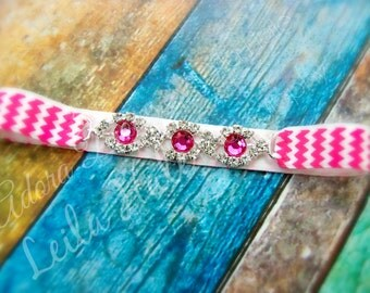 0 to 3 m Hot pink & white chevron rhinestine chain bling NB baby girl halo headband photography prop
