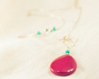 Southwest inspired, red jasper tear drop pendant and turquoise Czech glass necklace