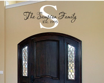 Family Name  Decal Monogram - Family Name Decal - Wall Decal - Decals - Vinyl Decal - Wall Decor - Decals -Monongrams - Decal