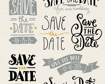 Save the Date Overlays 1 // Photoshop PSD // Editable Vector EPS // Invitation Card Elements // Brush Stamp // Wedding Announcement Clip Art