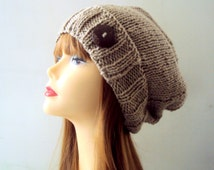 Knit Button Hat Slouchy Beanie Hand Knit Hat Taupe/Light Brown Chunky Hat  Gift Ideas