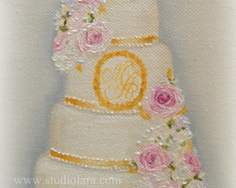 Custom Wedding Cake Painting in OIL by LARA 8x10 Bridal Illustration