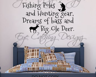 Fishing Poles Hunting Gear Dreams Of Bass Big Ole Deer Country Hunting Antlers Bedding Bedroom Wall