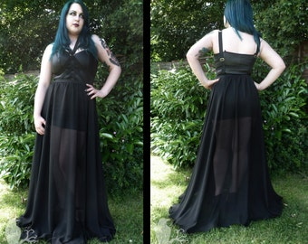 Nightshade - sheer gothic harness maxi dress over rubber look mini dress