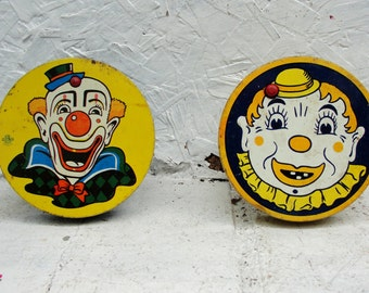 Two Circus Noisemakers U.S. Metal Toy Mfg. Co. Made In U.S.A. Vintage Toy Great Graphics