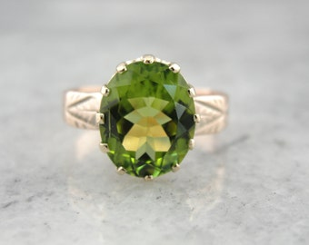 Antique Victorian, Rose Gold Ladies Ring with Fine Peridot Center 7YZR4L-D