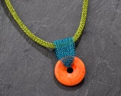 Tribal Necklace,  Boho Necklace with Orange Howlite,  Colorful Necklace